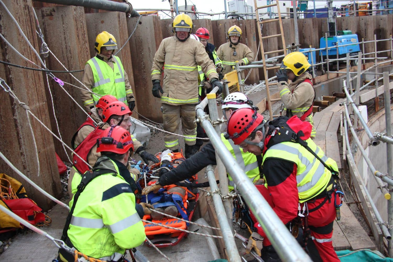 Fire and rescue service carry out mock rescue